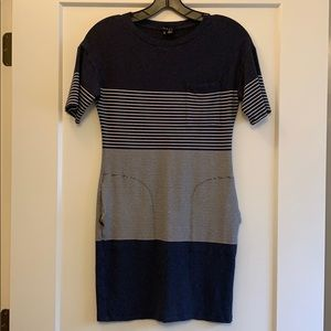 Theory navy and white striped dress